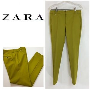 Zara Yellow Stretch Ankle Pants